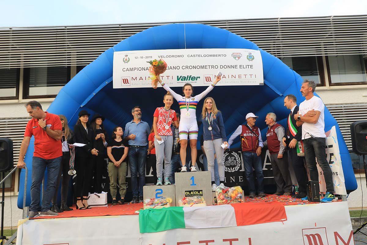 Il podio della cronometro Donne Junior di Castelgomberto (foto Fabiano Ghilardi)