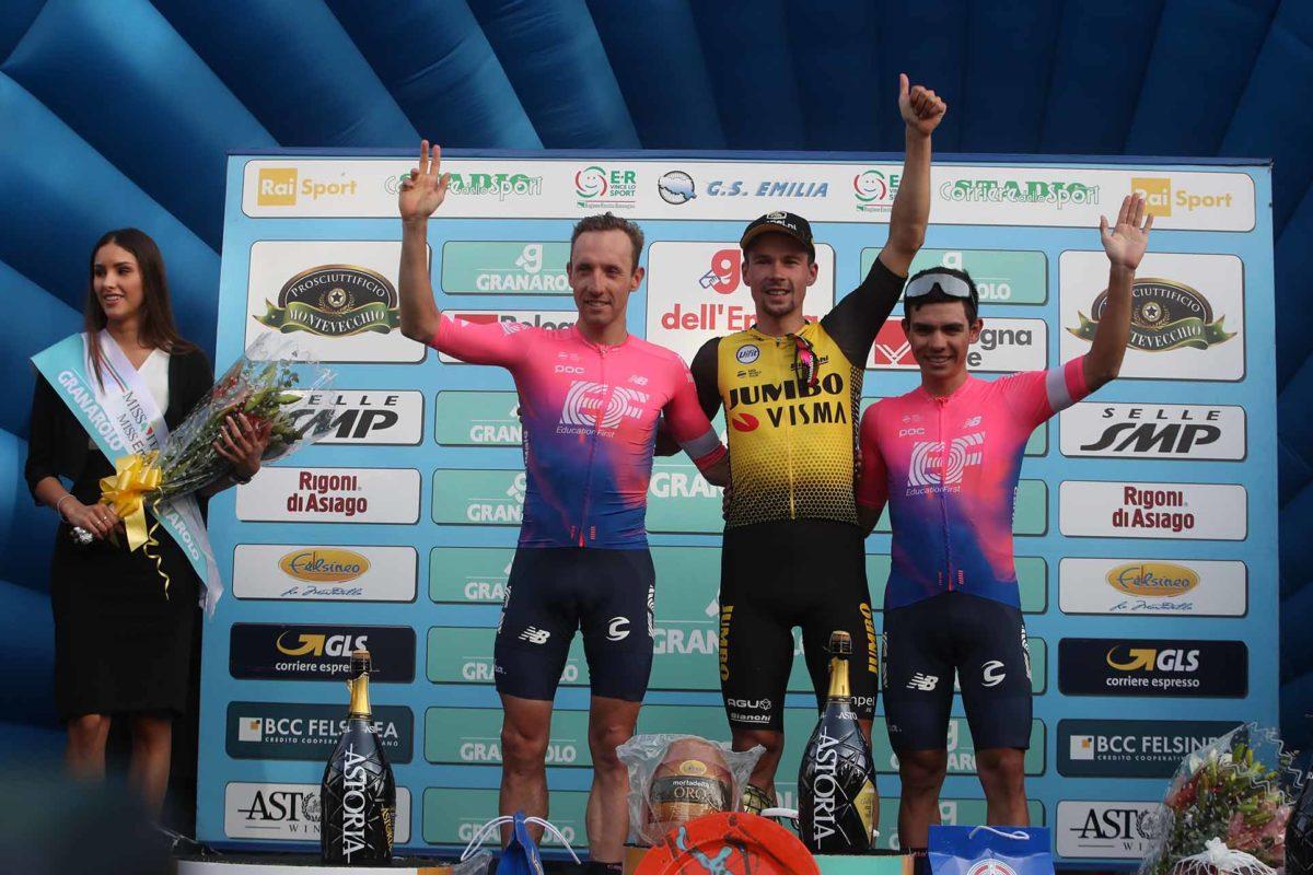 Il podio del Giro dell'Emilia 2019 (foto BettiniPhoto)