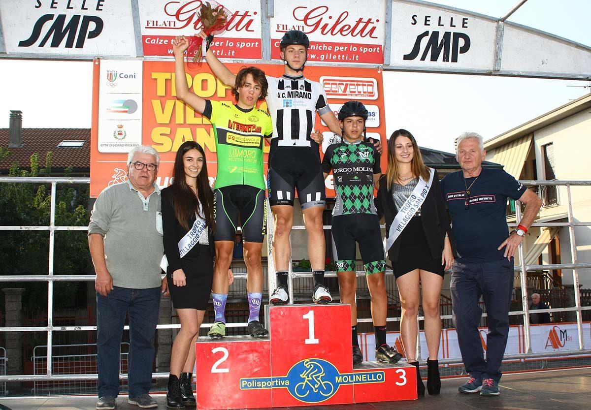 Il podio del 57° Trofeo Villaggio San Pio X (foto Berry)