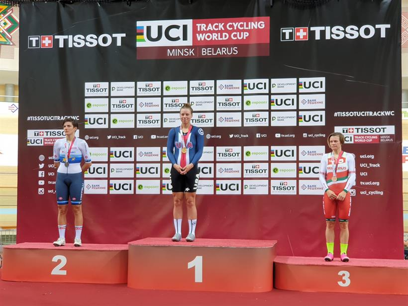 Il podio della Corsa a punti femminile a Minsk