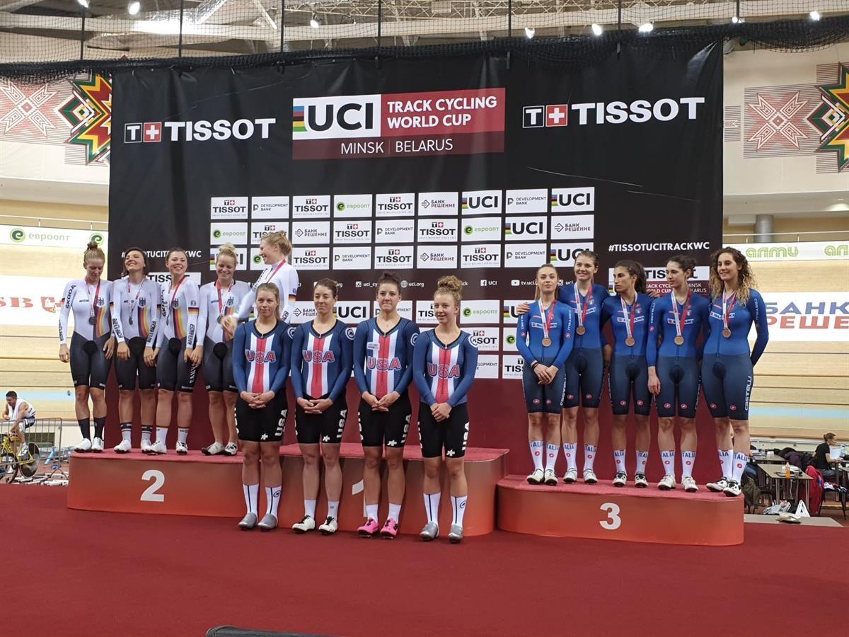 Il podio del quartetto femminile