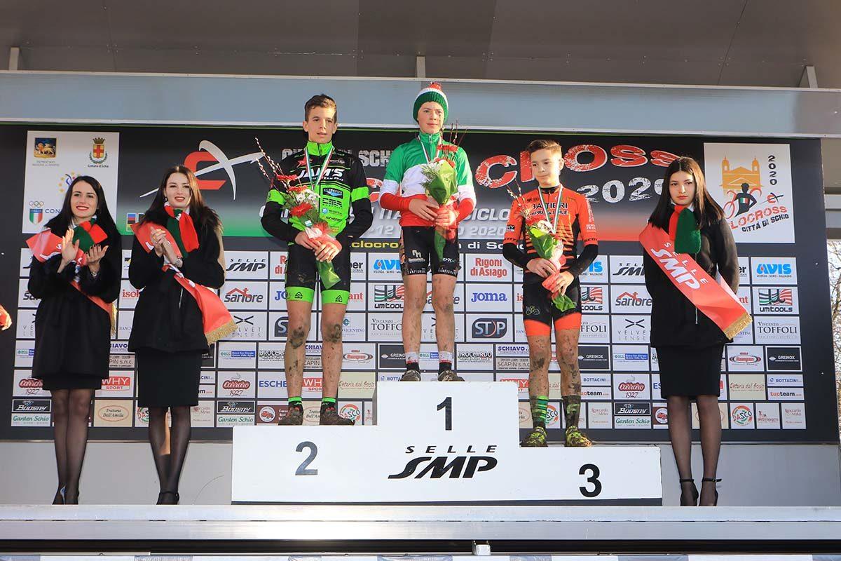 Il podio del Campionato Italiano di Ciclocross Esordienti 1° anno vinto da Riccardo Da Rios (foto Fabiano Ghilardi)