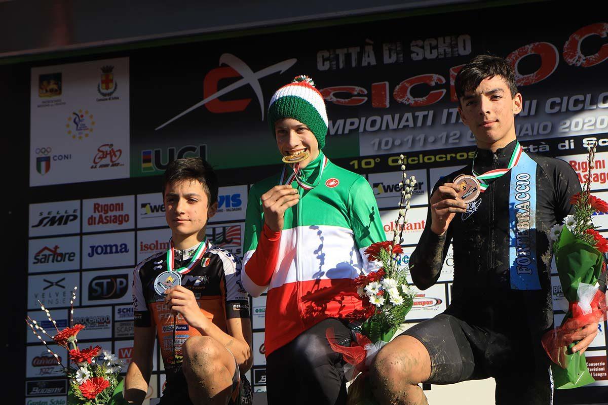 Il podio del Campionato Italiano di Ciclocross Allievi 1° anno vinto da Ettore Prà (foto Fabiano Ghilardi)