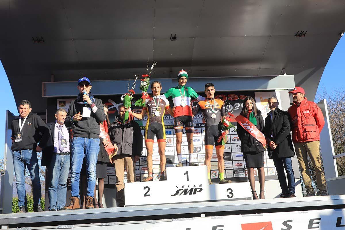 Il podio del Campionato Italiano di Ciclocross Allievi 2° anno vinto da Federico De Paolis (foto Fabiano Ghilardi)