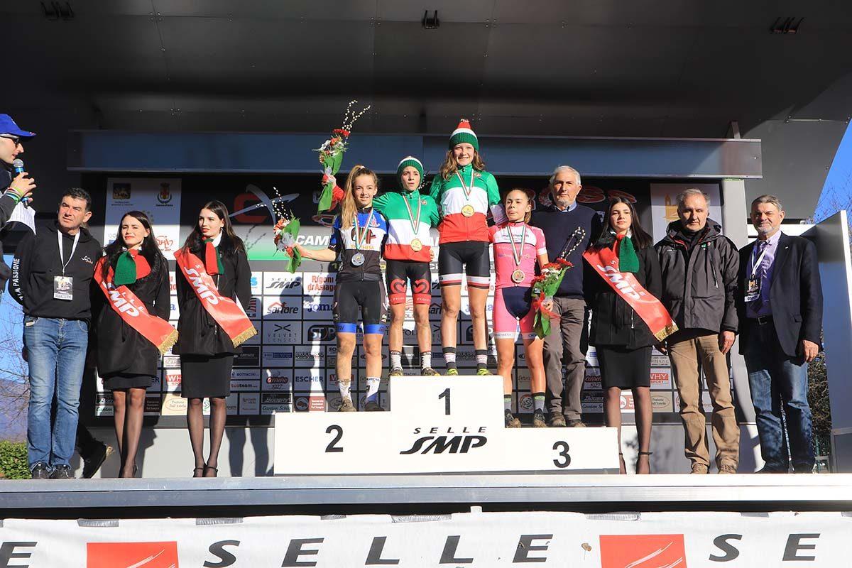 Il podio del Campionato Italiano di Ciclocross Donne Esordienti 2° anno (foto Fabiano Ghilardi)