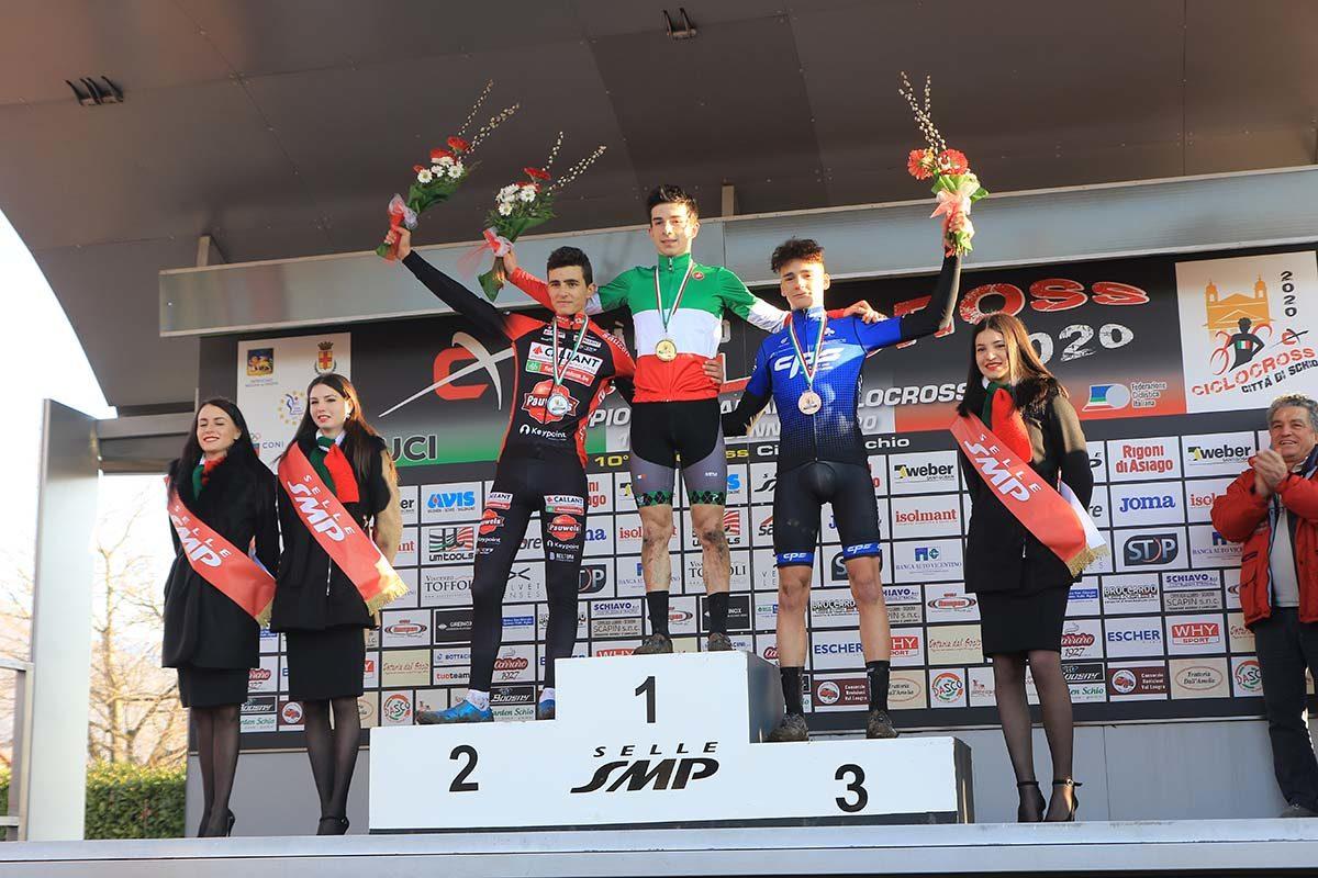 Il podio del Campionato Italiano di Ciclocross Juniores vinto da Davide De Pretto (foto Fabiano Ghilardi)