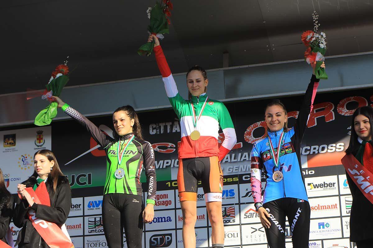 Il podio del Campionato Italiano di Ciclocross Donne Junior vinto da Lucia Bramati (foto Fabiano Ghilardi)
