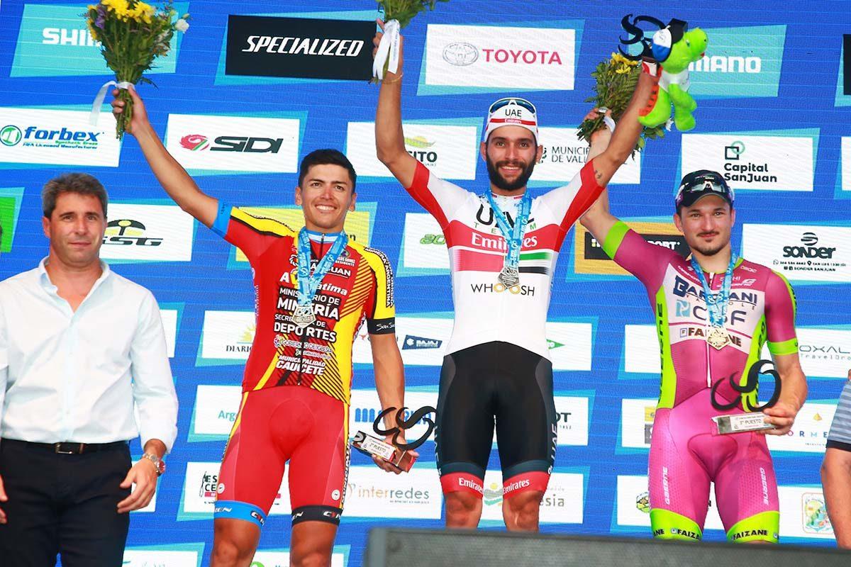 Il podio della seconda tappa della Vuelta a San Juan 2020 (foto Ilario Biondi/BettiniPhoto)