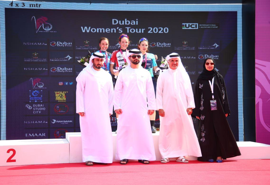 Il podio della quarta tappa del Dubai Women's Tour 2020