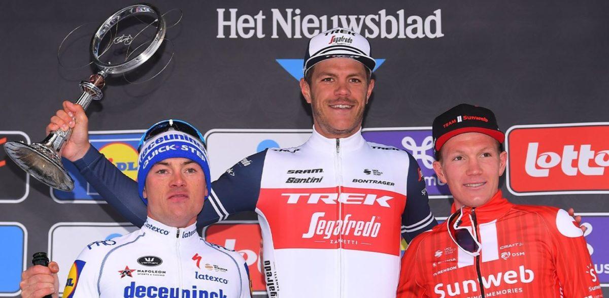 Il podio della Omloop Het Nieuwsblad 2020 vinta da Jasper Stuyven