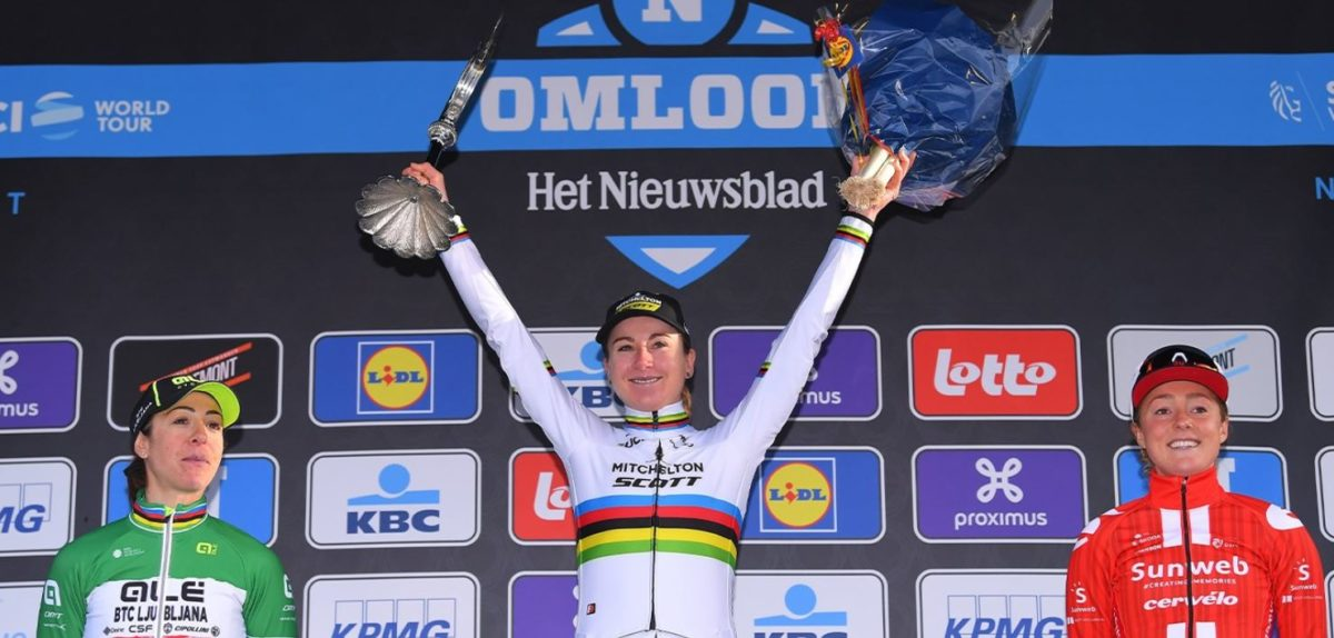 Il podio della Omloop Het Nieuwsblad femminile 2020