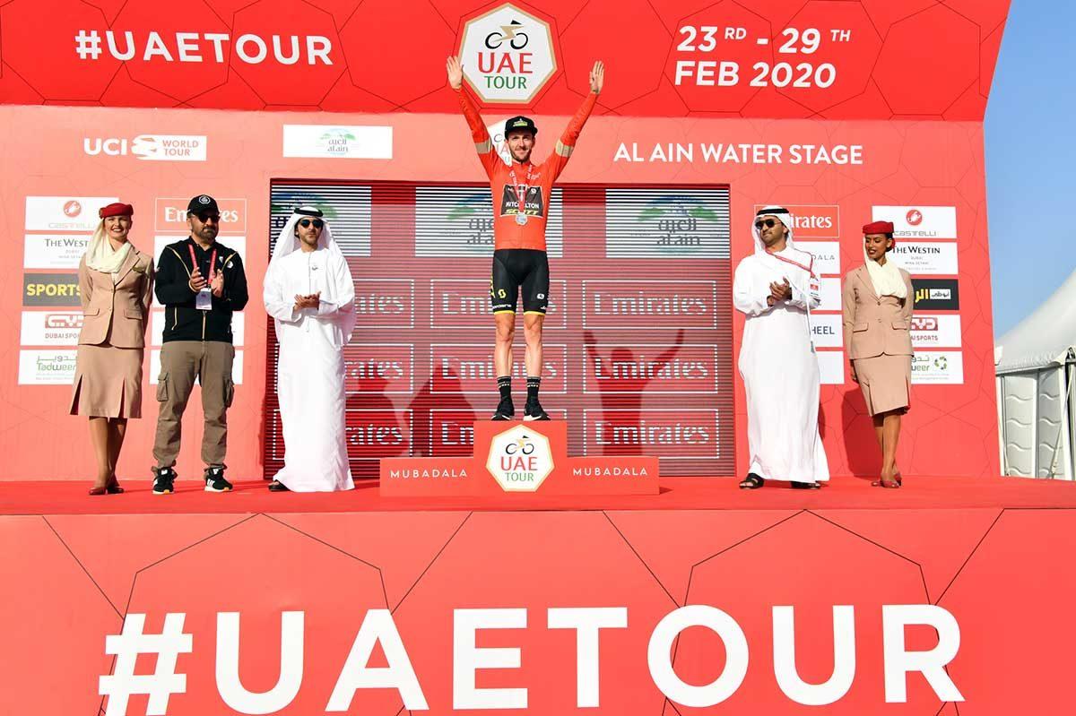 Adam Yates leader dopo la quinta tappa dell'UAE Tour 2020 (foto LaPresse)