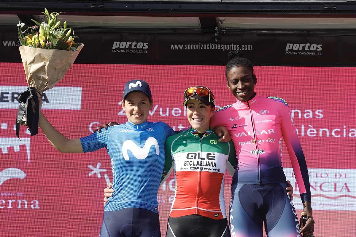 Il podio della Vuelta CV Faminas 2020 (foto Photo Gomez Sport)