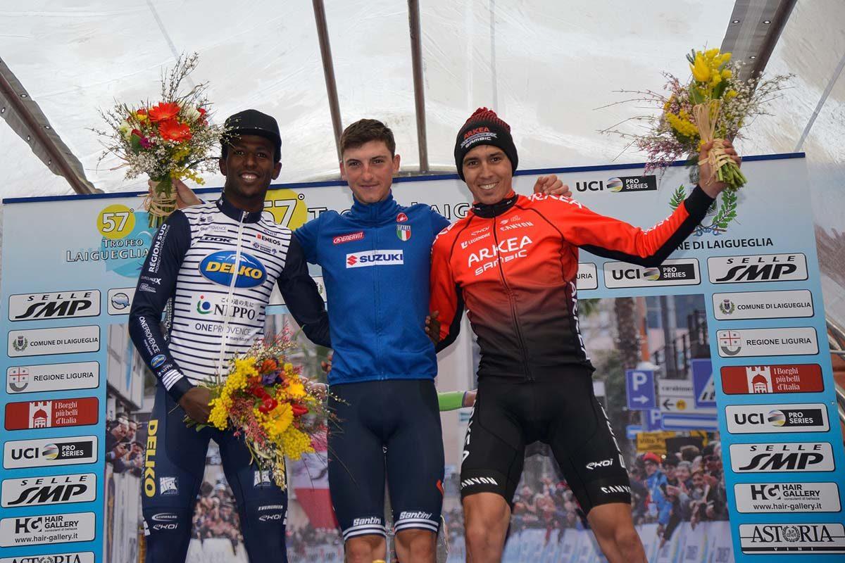Il podio del Trofeo Laigueglia 2020 (foto BettiniPhoto)