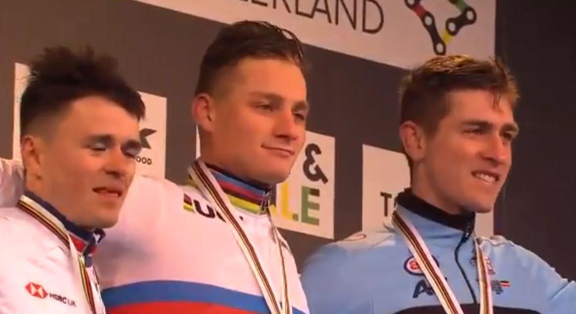 Il podio del Mondiale ciclocross 2020