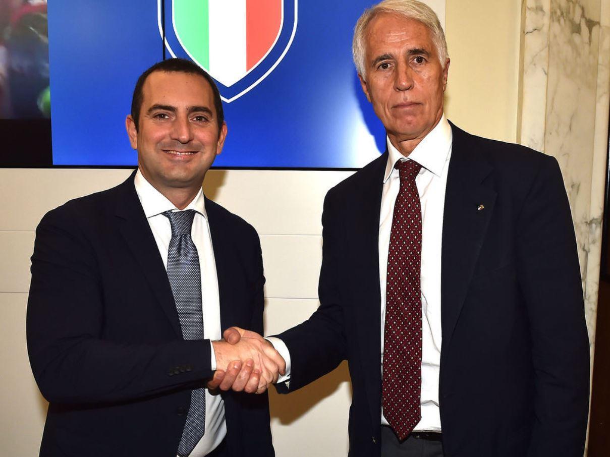 Il ministro dello sport Vincenzo Spadaforo e il presidente del Coni Giovanni Malagò