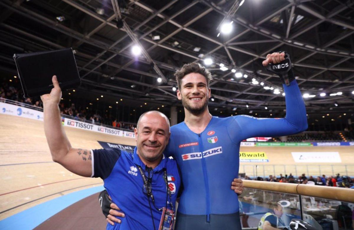 Il CT Marco Villa con Filippo Ganna a Berlino