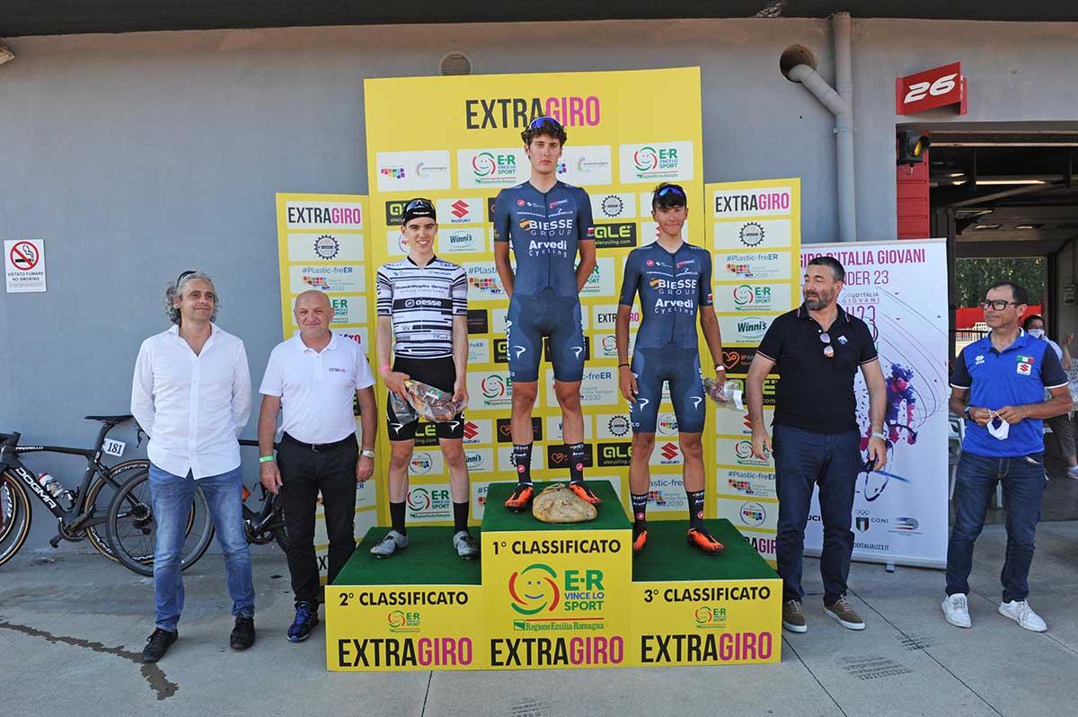 Il podio della seconda gara su strada per Elite e U23 a Imola