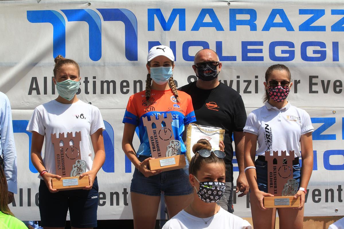 Il podio della cronometro Donne Esordienti di Rodigo (foto Fabiano Ghilardi)