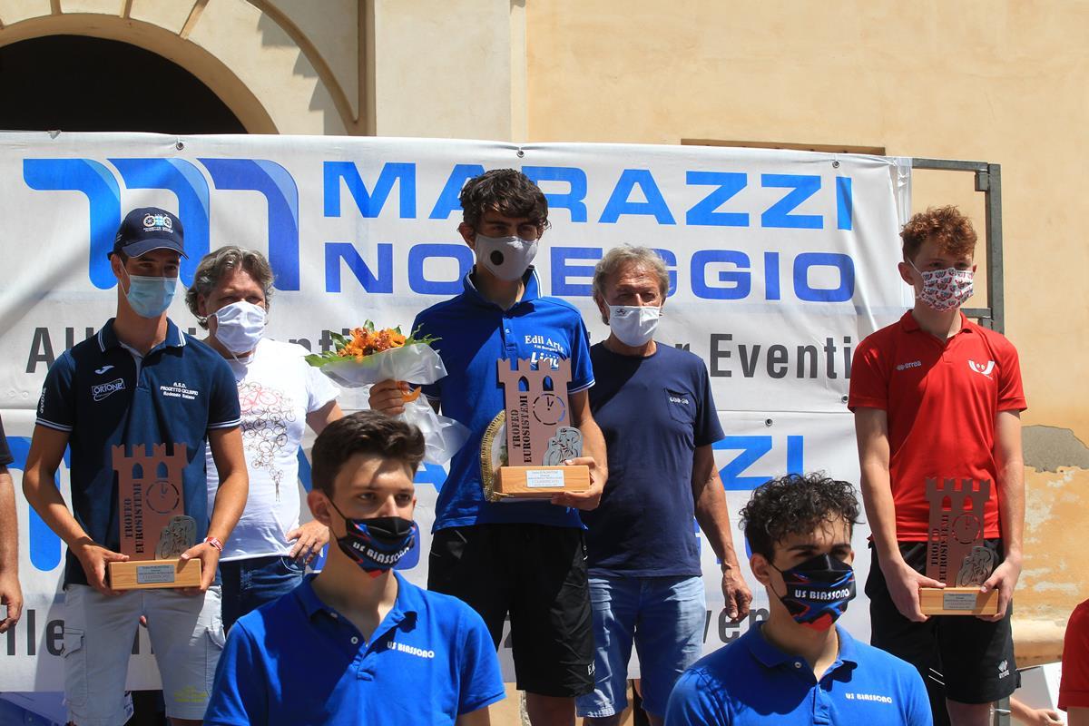 Il podio della cronometro Allievi di Rodigo (foto Fabiano Ghilardi)