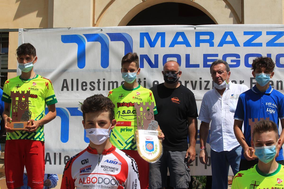Il podio della cronometro Esordienti di Rodigo (foto Fabiano Ghilardi)