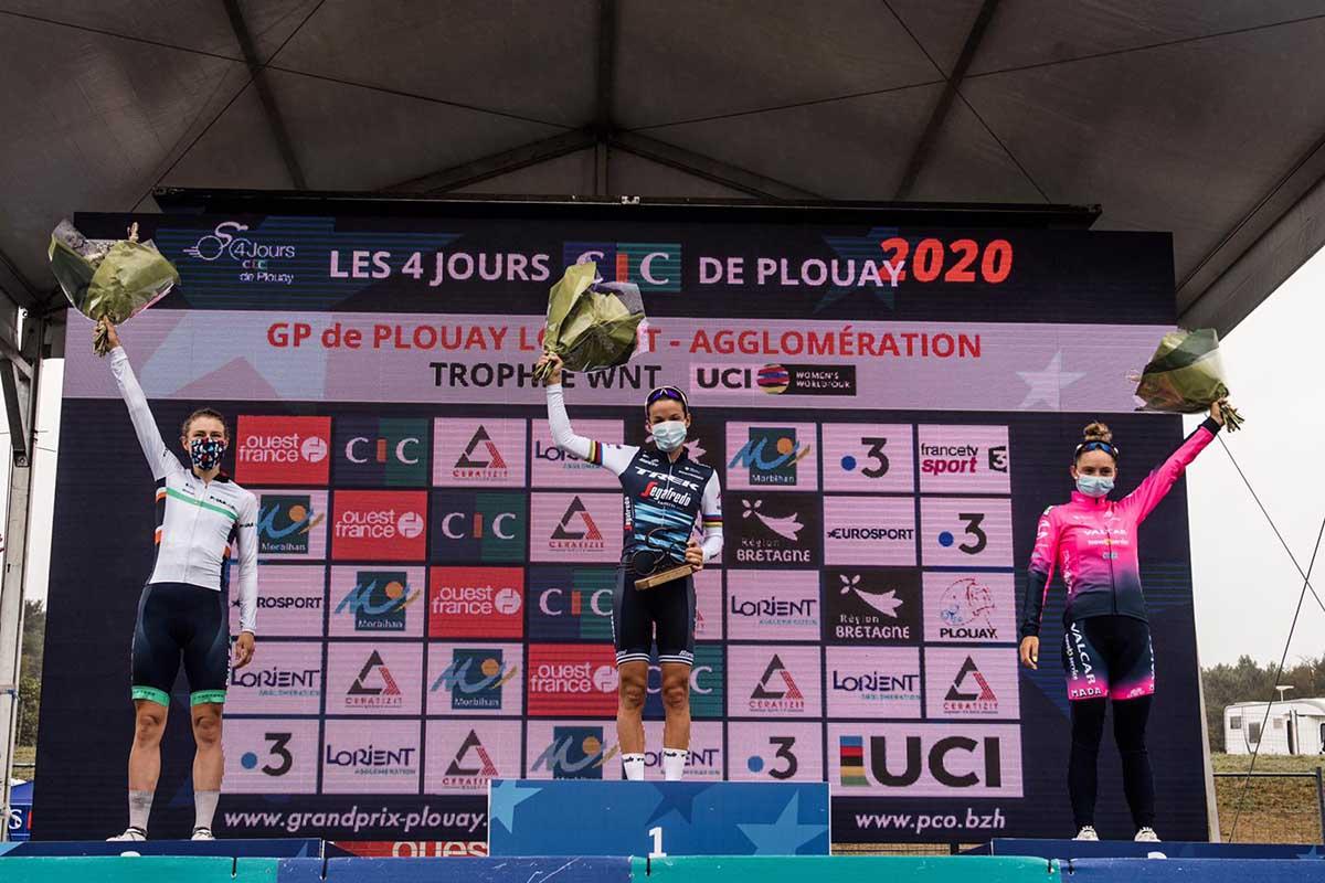 Il podio del Gp Plouay 2020 (foto Twila Muzzi)