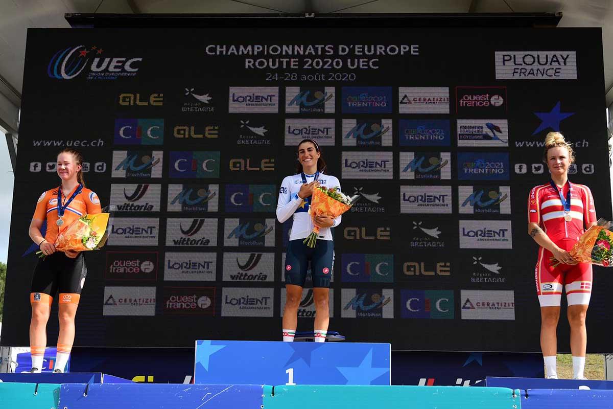 Il podio del Campionato Europeo Donne U23 a Plouay 2020 (foto Twila Muzzi)