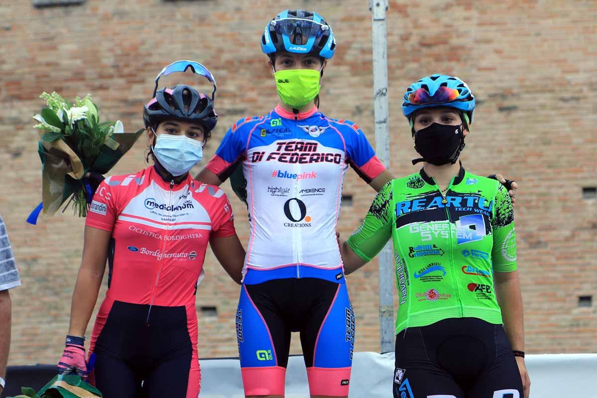 Il podio della gara Donne Allieve di Formigine (foto Fabiano Ghilardi)