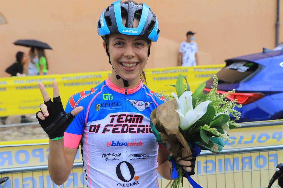 Eleonora Ciabocco festeggia la terza vittoria a Formigine (foto Fabiano Ghilardi)