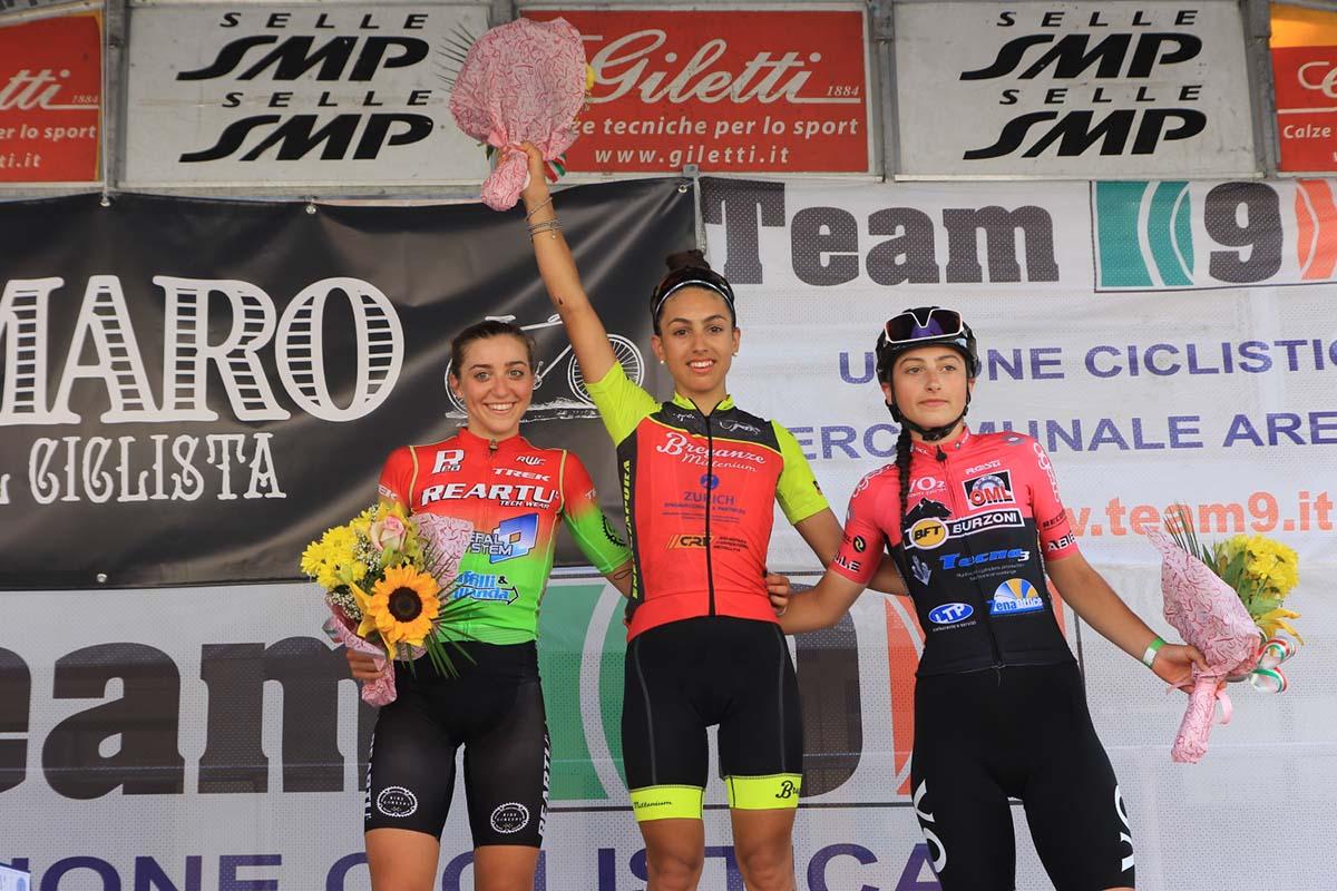 Il podio Donne Junior di Massa Finalese (foto Fabiano Ghilardi)
