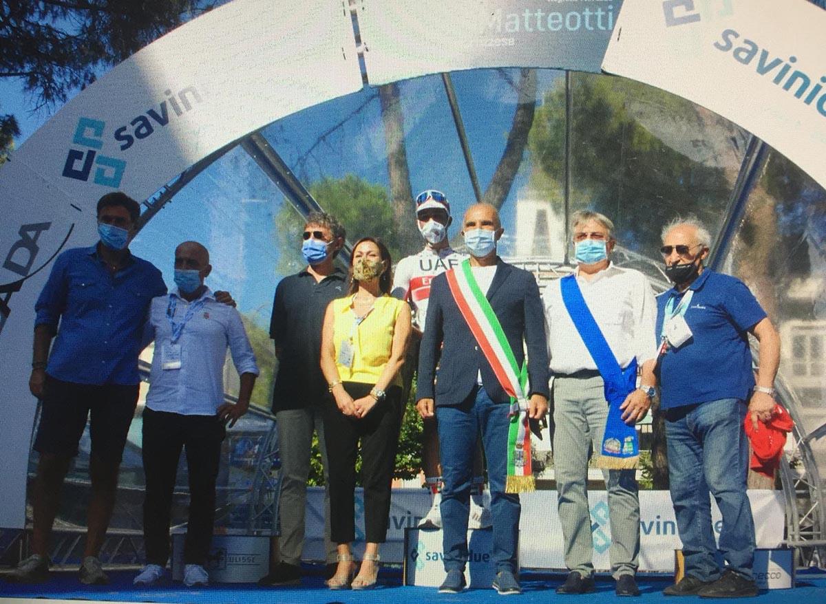 Il podio del Trofeo Matteotti 2020 (foto Achille Rasetta)