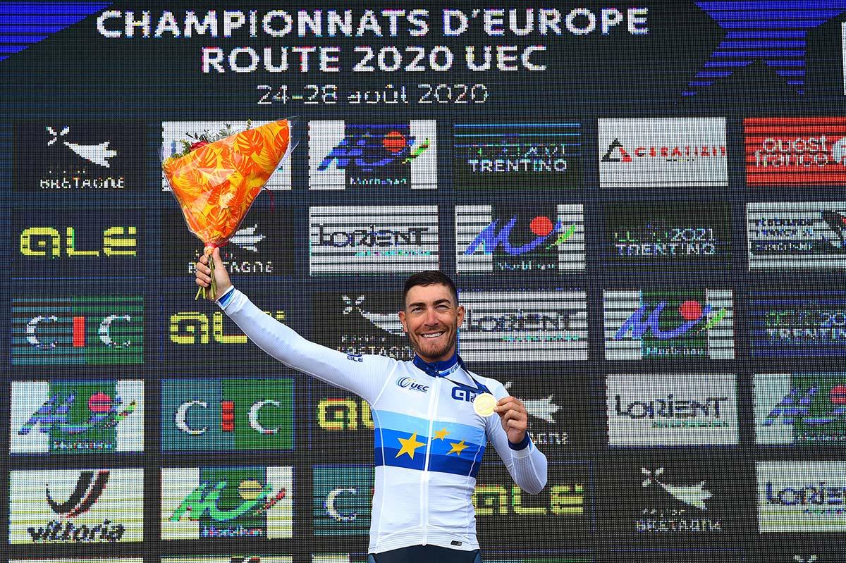 Giacomo Nizzolo vincitore del Campionato Europeo professionisti 2020 a Plouay (foto BettiniPhoto)