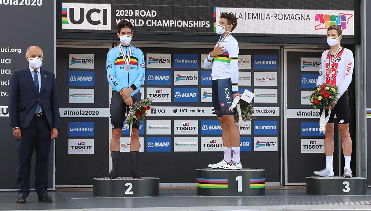 Il podio del Mondiale a cronometro di Imola (foto Photobicicailotto)