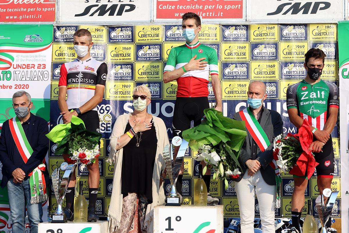 Il podio del Campionato Italiano Under 23 a Zola Predosa (foto Photobicicailotto)
