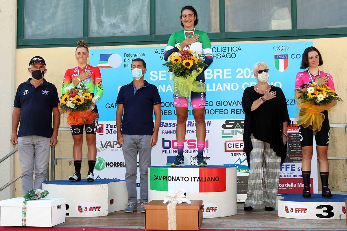 Il podio del Campionato Italiano a cronometro Donne Junior 2020 vinto da Matilde Bertolini (foto Photobicicailotto)