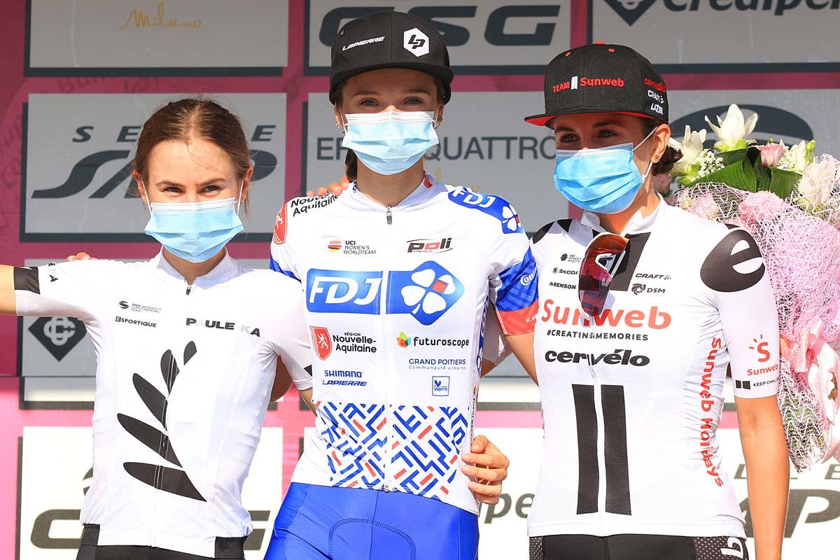 Il podio della nona e ultima tappa del Giro Rosa 2020 (foto F. Ossola)