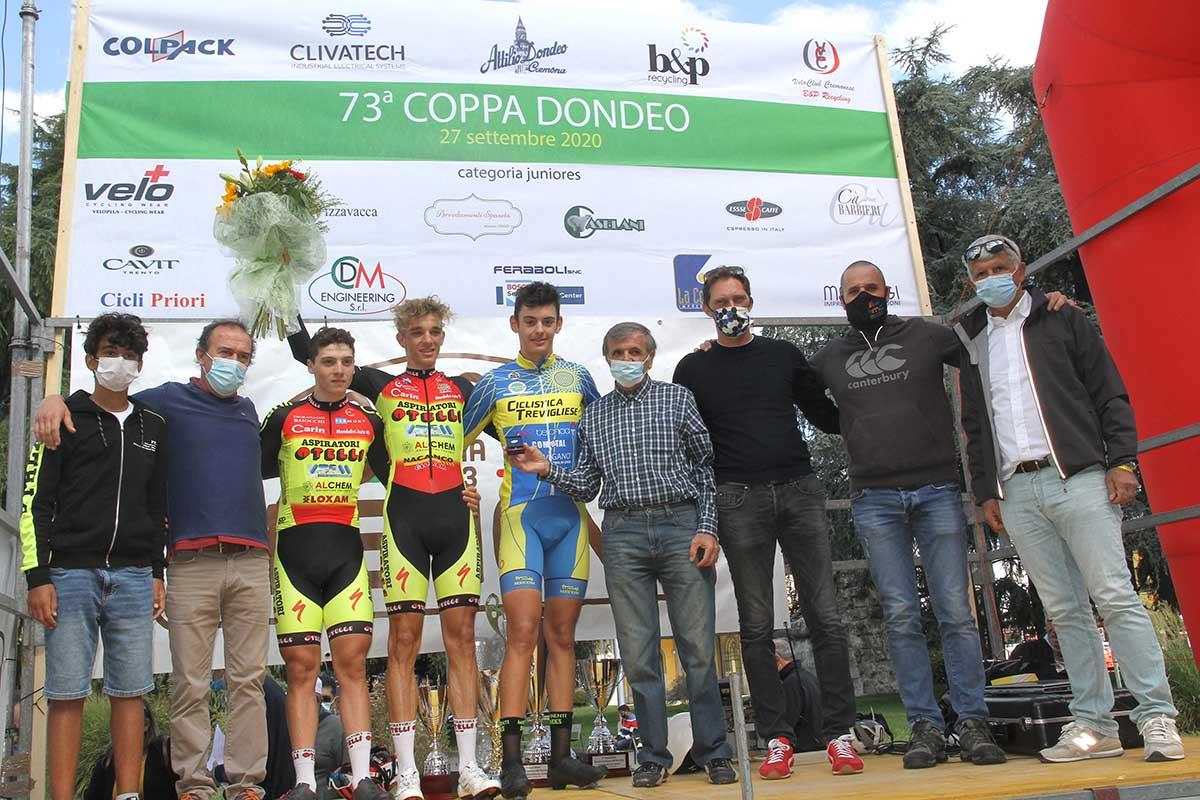 Il podio della 73/a Coppa Dondeo (foto Soncini)