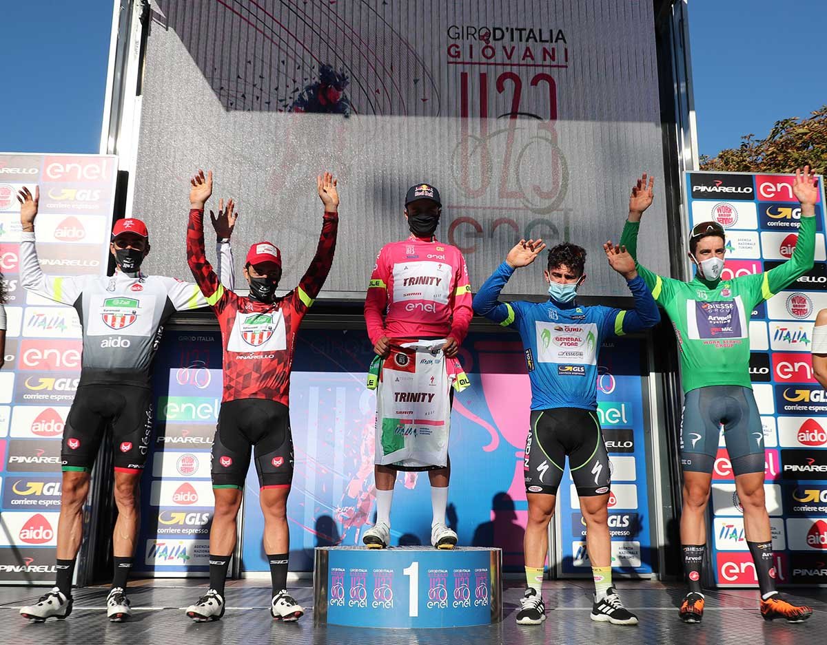 Le maglie dopo la sesta tappa del Giro d'Italia U23 2020 (foto Isolapress)