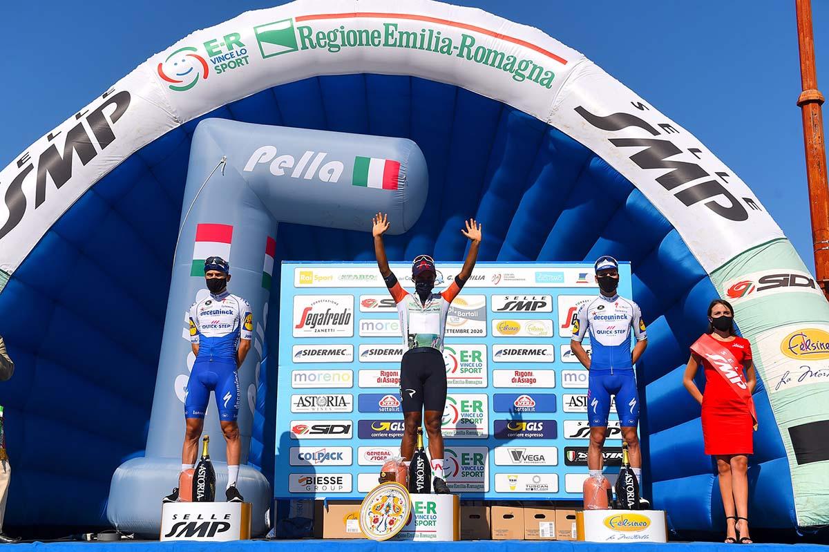 Il podio finale della Settimana Coppi e Bartali 2020 (foto BettiniPhoto)