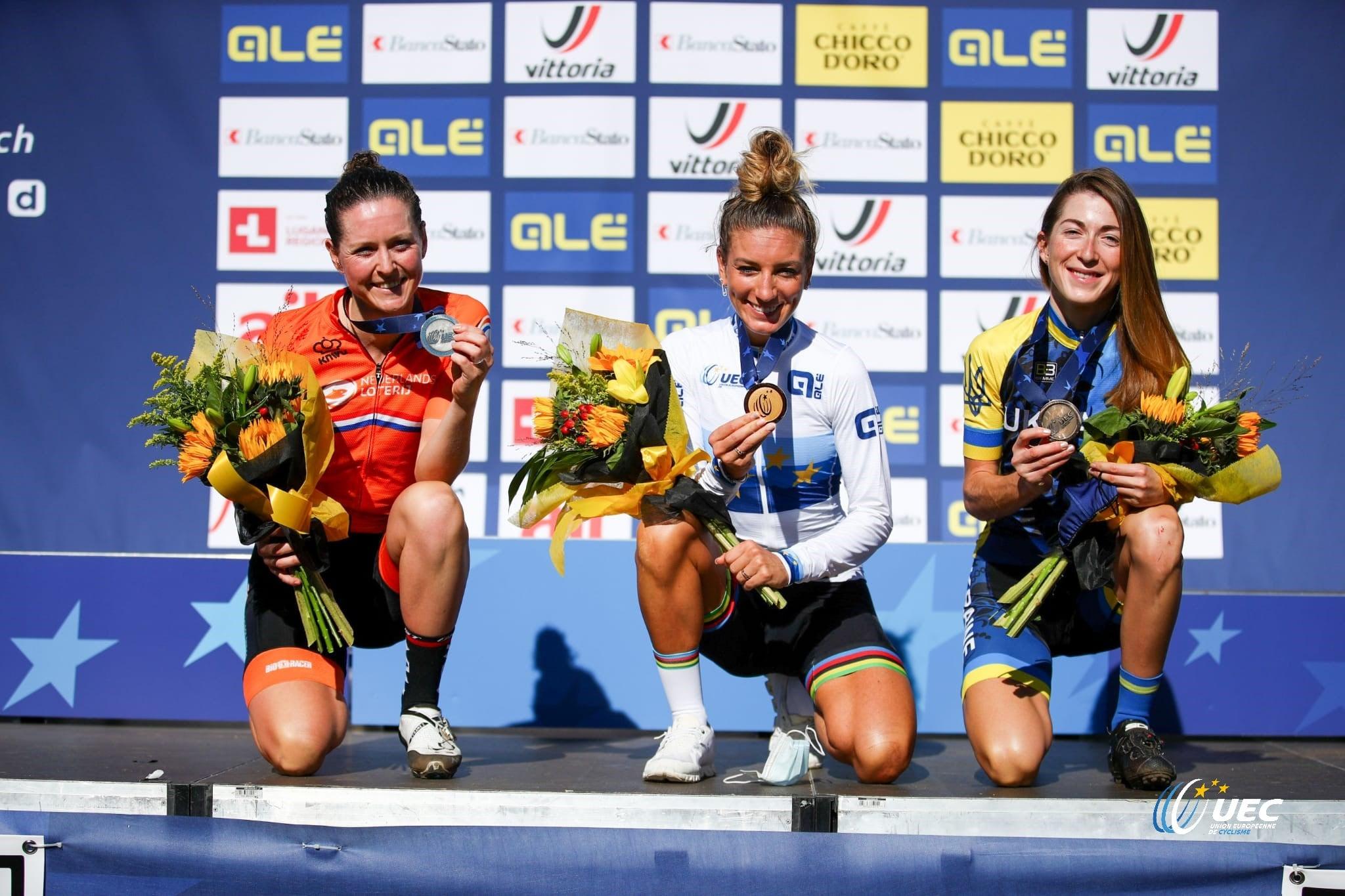 Il podio del Campionato Europeo XCO Donne Elite 2020 (foto UEC/Michele Mondini)