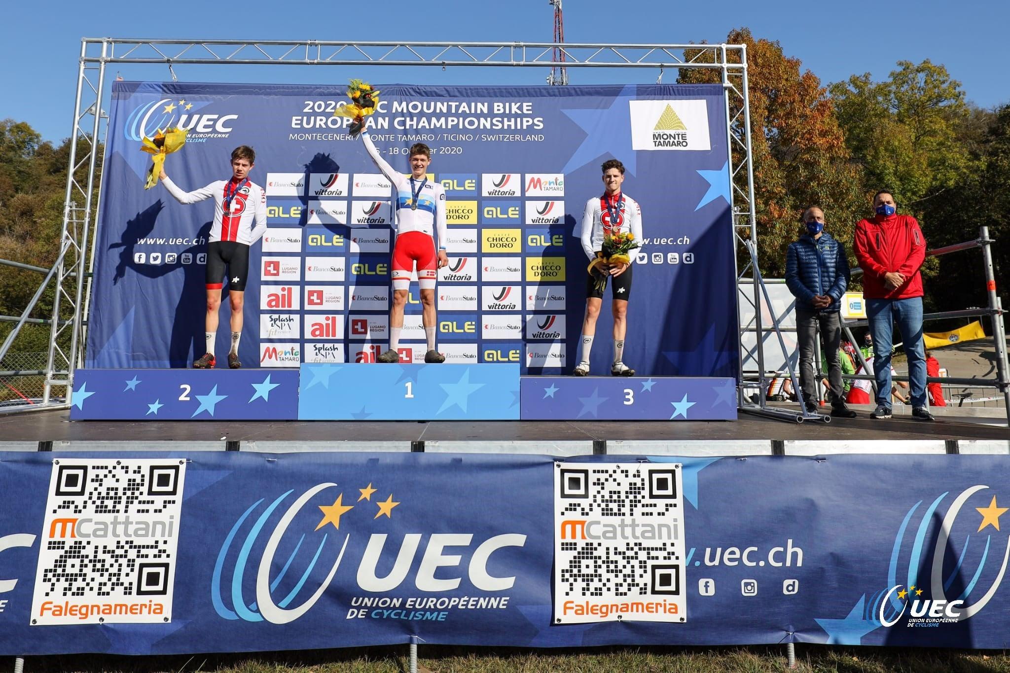 Il podio del Campionato Europeo XCO Juniores 2020 (foto Michele Mondini/UEC)