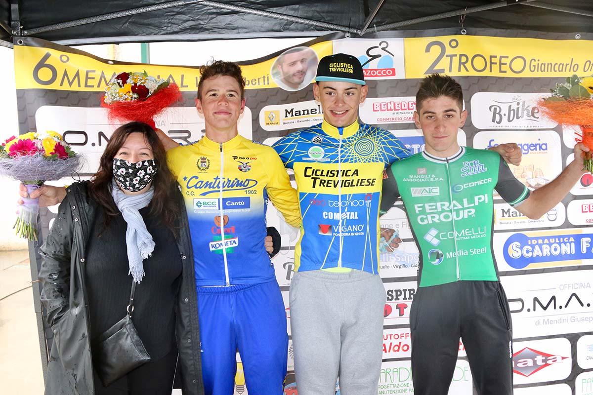 Il podio della gara Juniores di Prevalle (foto Photobicicailotto)