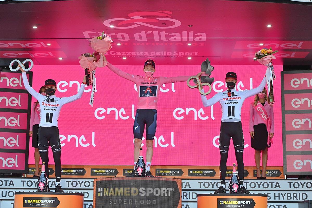 Il podio finale del Giro d'Italia 2020 (foto LaPresse)
