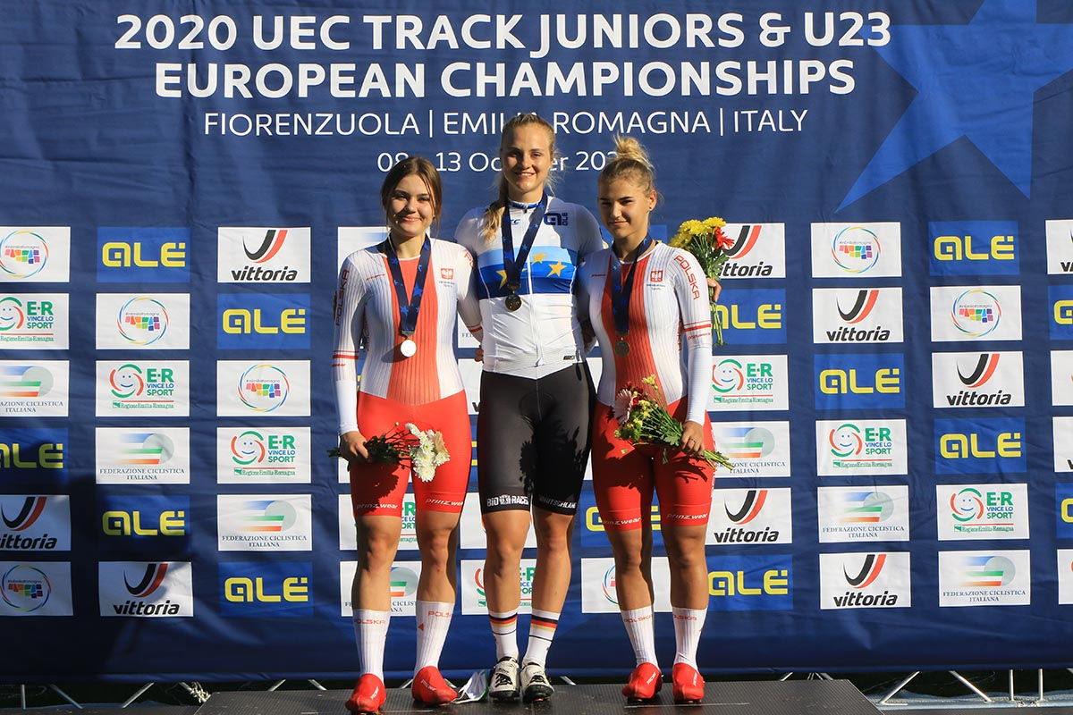 Il podio dell'Europeo Keirin Donne U23 a Fiorenzuola (foto Fabiano Ghilardi)