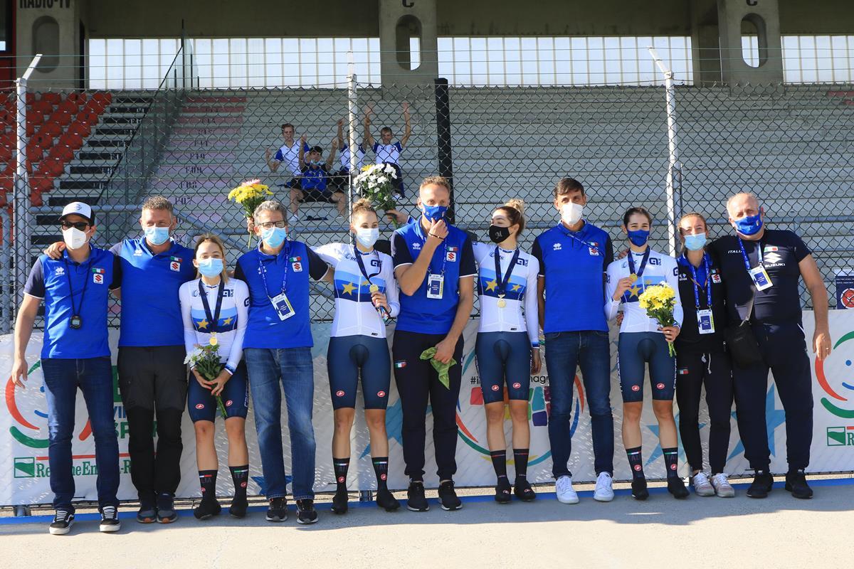 Le azzurre Under 23 vincono il Campionato Europeo dell'Inseguimento a squadre a Fiorenzuola (foto Fabiano Ghilardi)