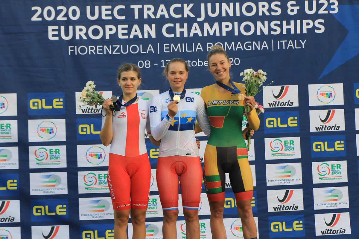 Il podio dell'Europeo Omnium Donne U23 (foto Fabiano Ghilardi)