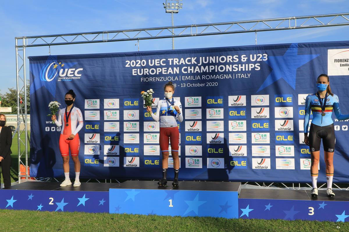Il podio dell'Inseguimento Donne Junior (foto Fabiano Ghilardi)