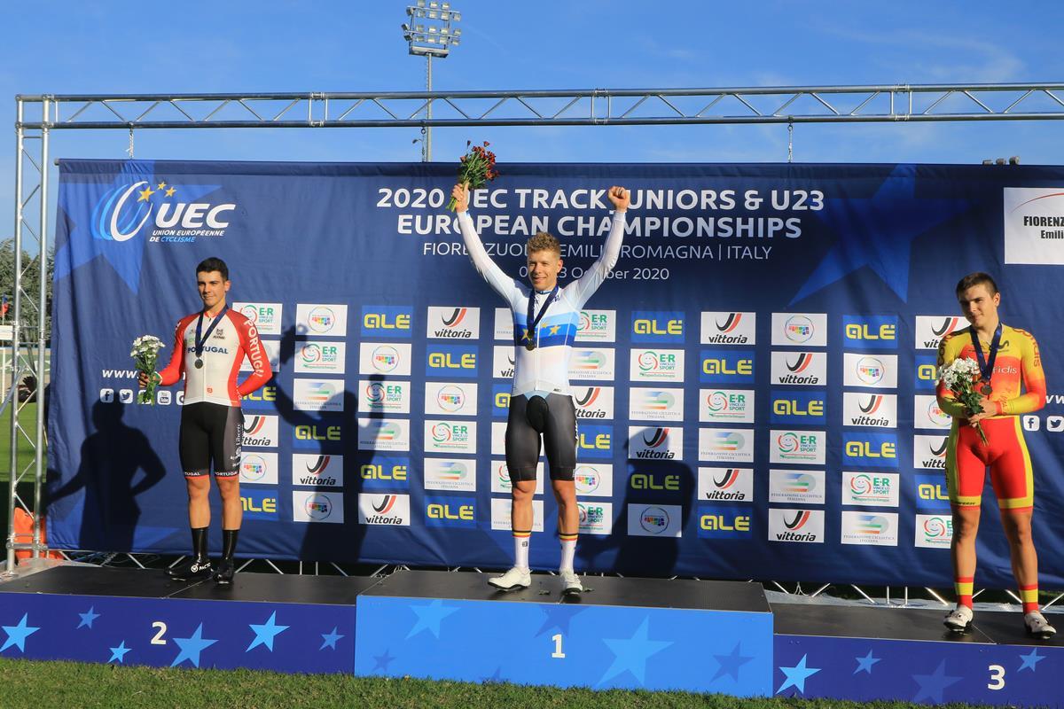Il podio del Campionato Europeo Eliminazione Under 23 a Fiorenzuola (foto Fabiano Ghilardi)
