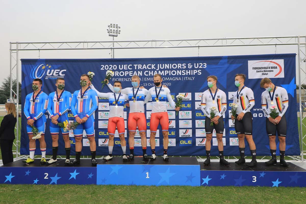 Il podio della Velocità a squadre U23 all'Europeo di Fiorenzuola (foto Fabiano Ghilardi)