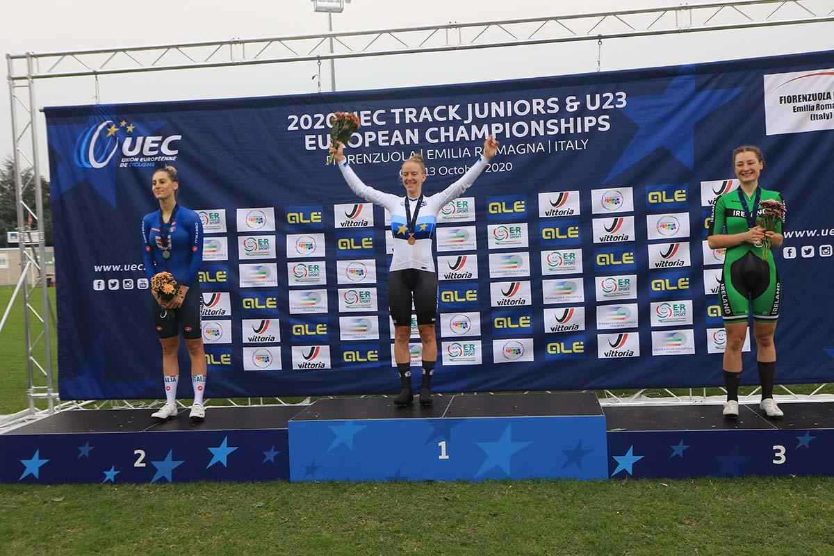 Vittoria Guazzini medaglia d'argento all'Europeo Inseguimento Donne U23 (foto Fabiano Ghilardi)
